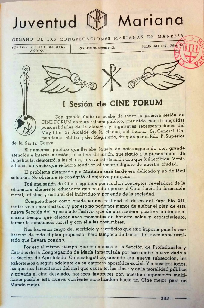 Revista JUVENTUD MARIANA. Gener 1957